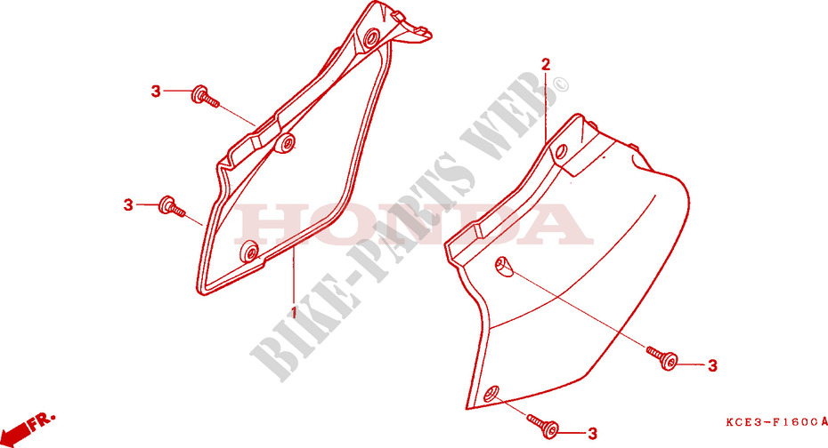 Honda MOTO 250 XR 1997  XR250RV Chassis COUVERCLE LATERAL