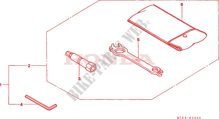 Honda MOTO 250 XR 1997  XR250RV Chassis OUTILS
