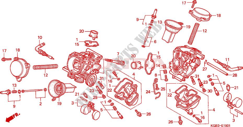 carburateur pieces constitutives shadow 125 vt125cx 1999 france vt125cx pices dtaches d. Black Bedroom Furniture Sets. Home Design Ideas