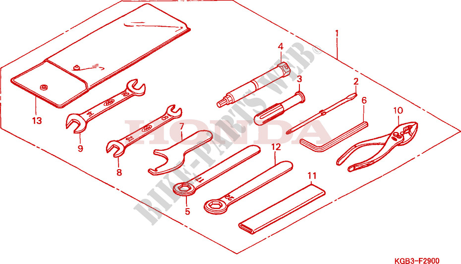 Honda MOTO 125 VT 2000  VT125CY Chassis OUTILS
