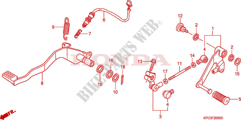 pedale chassis xl125v8 2008 varadero 125 moto honda moto. Black Bedroom Furniture Sets. Home Design Ideas