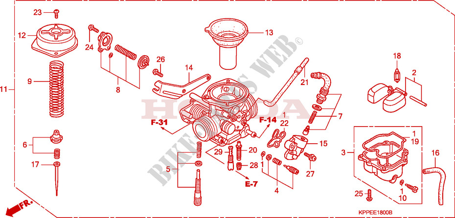 carburateur pour honda 125 cbr 2004 honda moto. Black Bedroom Furniture Sets. Home Design Ideas