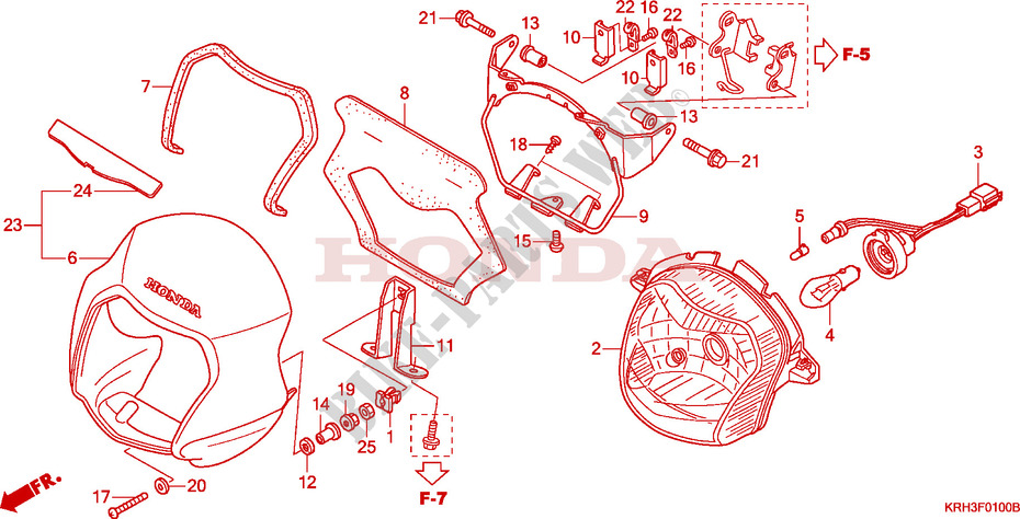 Projecteur Pour Honda Xr 125 L Demarreur De 2003   Honda Moto