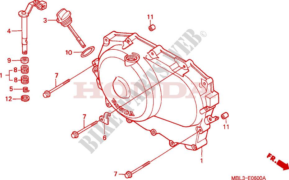 Deauville 650 : commande embrayage inactive après remplacement des disques CARTER-MOTEUR-DROIT-Honda-MOTO-650-DEAUVILLE-1999-NT650VX-E__0600