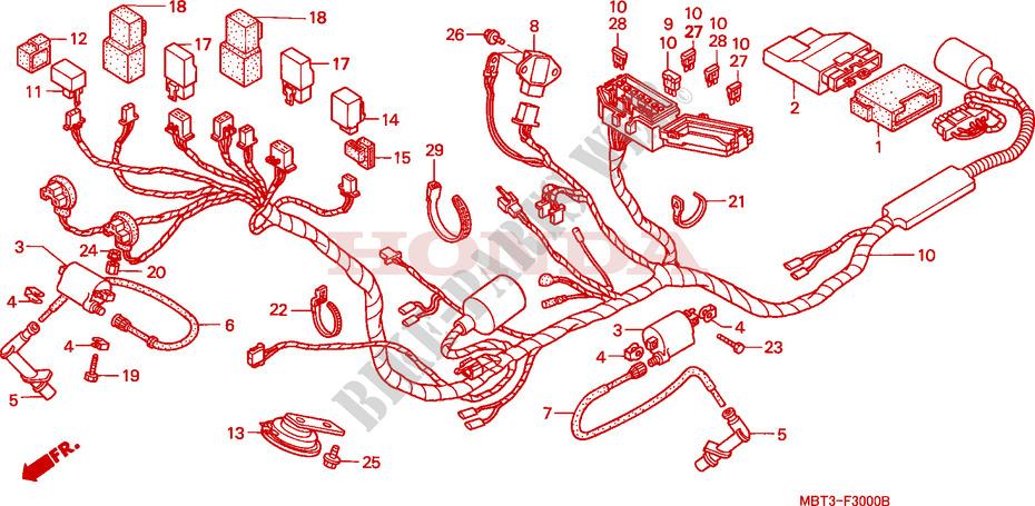 Schema Elettrico Honda Varadero 1000 : Faisceau des fils xl varadero vx europe