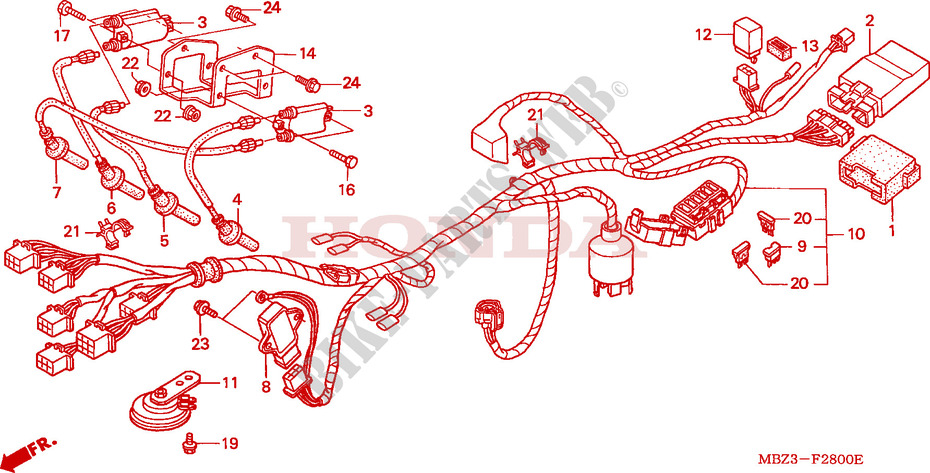 Schema Elettrico Honda Hornet 600 : Schema clignotant hornet