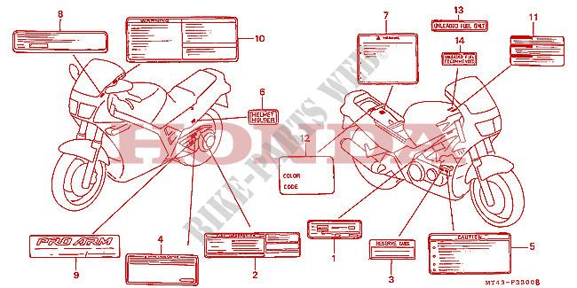 Sticker blanc sur le réservoir 'Traduction des commandes' ETIQUETTE-DE-PRECAUTIONS-VFR750FL-FM-FN-FP-Honda-MOTO-750-VFR-1993-VFR750FP-F__3300