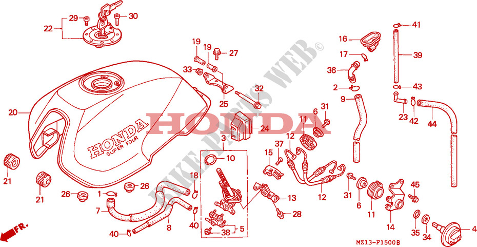 Honda MOTO 1000 CB 1993  CB1000FP Chassis RESERVOIR A CARBURANT