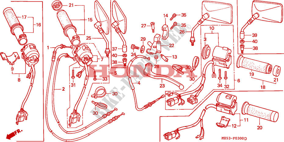 Honda MOTO 750 VF 1996  VF750CT Chassis COMMUTATEUR/CABLE