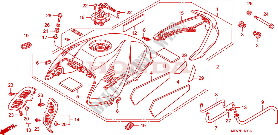 Honda MOTO 1000 CB 2008  CB1000R8 Chassis RESERVOIR A CARBURANT