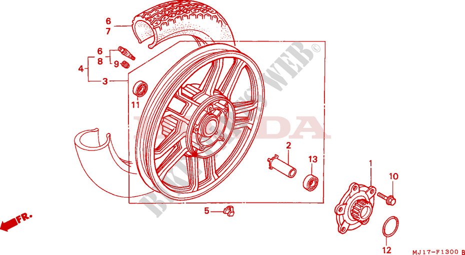 ROUE ARRIERE pour Honda CBX 750 PATROL LIGHT RED de 1987
