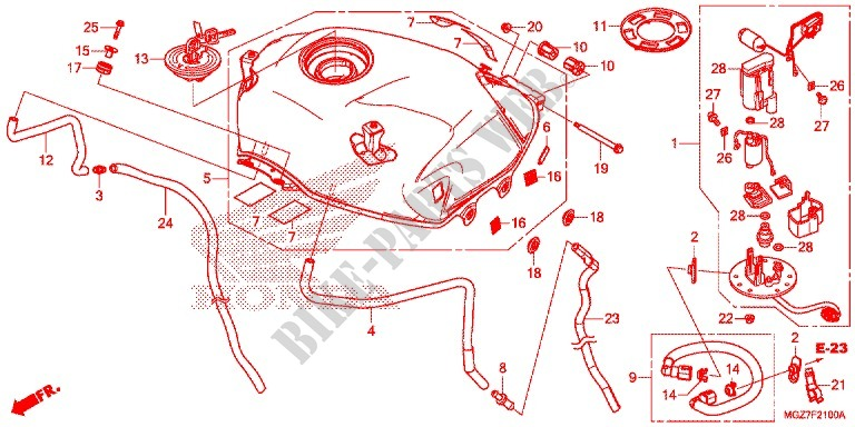 Honda MOTO 500 CB 2013  CB500XD Chassis RESERVOIR A CARBURANT/POMPE A CARBURANT
