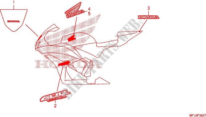 KYN pour Honda CBR600RR 2007 2008 2009 2010 2011 2012 Autocollant antid/érapant pour r/éservoir de carburant lat/éral