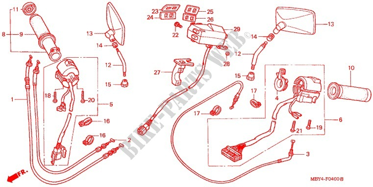 COMMODO   LEVIER   CABLE pour Honda VALKYRIE 1500 INTERSTATE de 1999